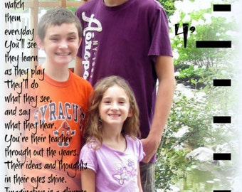 Personalized GROWTH CHART with photo and poem- Giclee wall print