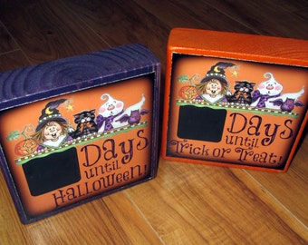 COUNTDOWN to HALLOWEEN or Trick or Treat- large size Chalkboard Photo Letter Blocks- per block price