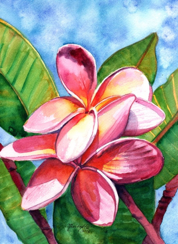 Playful Plumeria Watercolor Painting Original from Kauai