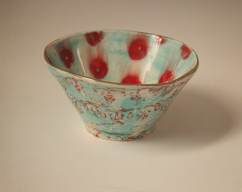 Handmade Ceramic Soup / Cereal Bowl in Gypsy Queen Pattern
