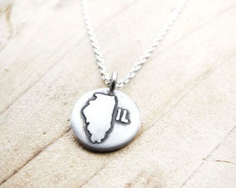 Tiny silver Illinois necklace, map jewelry
