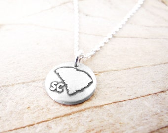 Tiny South Carolina map necklace, silver state jewelry South Carolina pendant