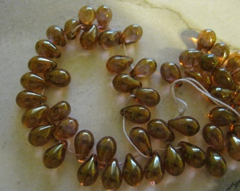 Czech Glass Amber Color Tear Drop Beads
