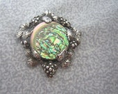 Sterling Abalone and Grapes Brooch - Heavy Cast Sterling with Opalescent Shell