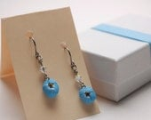 Unforgettable collection - forget-me-not nickel free dangle earrings in blues and white #2