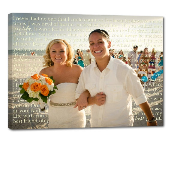 Same Sex Gay Wedding Marriage Gift Union LGBT Vows or Lyrics Art Personalized Art Typography and Photo on Canvas 12x16