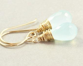 Aqua Chalcedony Dangle Earrings, Mint Earrings, Aqua Drop Earrings
