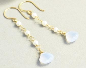 Blue Chalcedony Dangle Earrings, White Pearl Earrings, June Birthstone Earrings