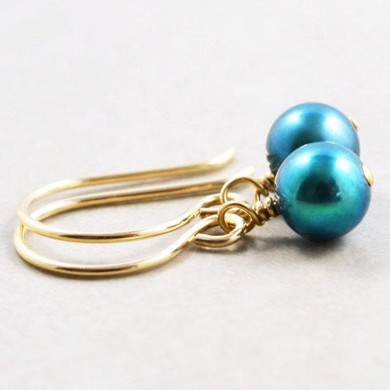 Pearl Drop Earrings, Teal Dangle Earrings, June Birthstone Jewerly, Bridesmaid Gift