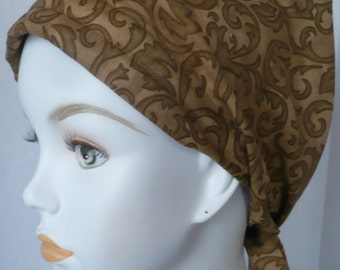 Classic Brown Chemo Cancer Hat Scarf Turban Alopecia Hair Loss Headwrap Bad Hair Day