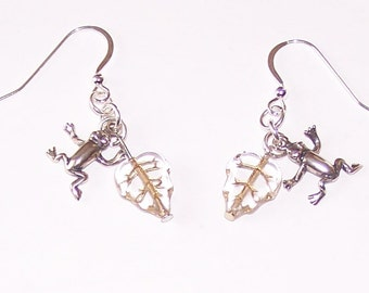 Sterling Silver FROG & LEAF Earrings - Reptile, Pet, Totem
