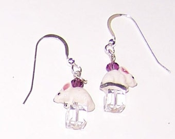 WHITE MOUSE Earrings - Sterling Silver French Earwires