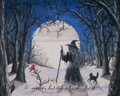"Folk Art Winter Snow Full Moon Witch Black Cat  PRINT ""Blue Moon"" Byrum"
