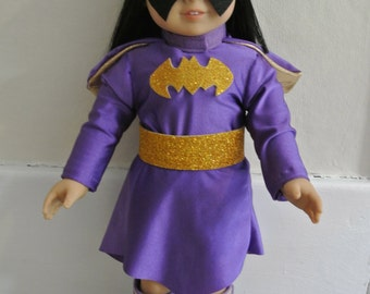 """Super Hero Type costume for 18"""" doll - possibly purple batgirl parody"""