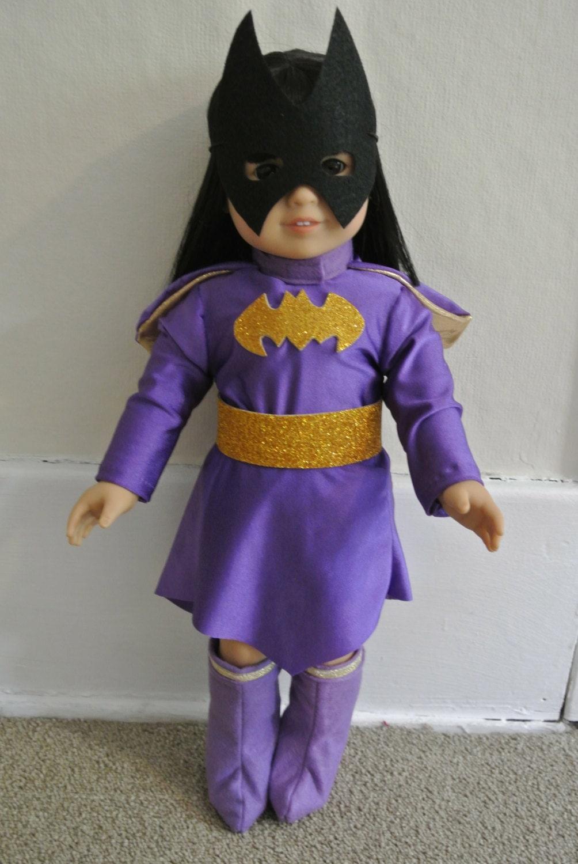 superhero costume for 18 inch doll purple batgirl parody