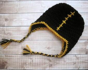 Crochet Newborn Hat, Newborn Boy Hat, Newborn Football Hat, Crochet Baby Hat, Baby Ear Flap Hat, Infant Boy Hat, Infant Hat, Baby Boy Hat,