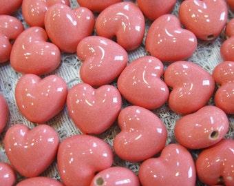 6 Pink Peruvian Ceramic Puff Heart Beads 13mm Vertical Holes
