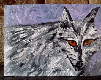 Lone wolf.  Original oil painting by Vivienne Strauss.