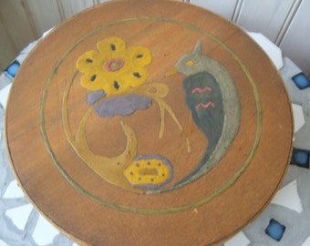 Vintage Folk Art Round Wooden Box Basket with bird and flowers handmade