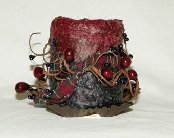 Primitive Burgundy and Blue Two Tone Tea Light Candle with Pip Berries, Rusted Star and Tied with  Homespun