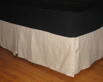 LINEN QUEEN SIZE Bedskirt with Kick Pleat on each side
