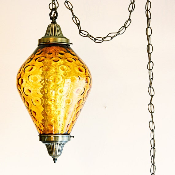 Hanging Lamps That Plug In To The Wall : Vintage hanging light hanging lamp swag lamp