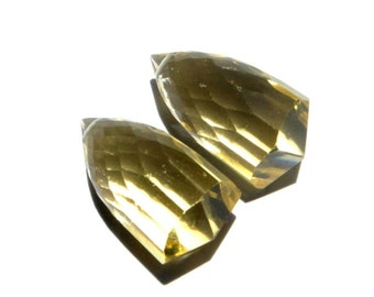 2Pcs Matched Pair - AAA Lemon Quartz Micro Faceted Bullet Shaped Fancy Chandelier Briolettes Size 20x10mm Approx