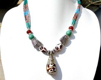 Nepalese Turquoise Coral, Lapis N Agate Necklace, Handmade Ethnic Jewelry, Tribal Jewelry, Beaded Jewellery, Tibetan Jewelry