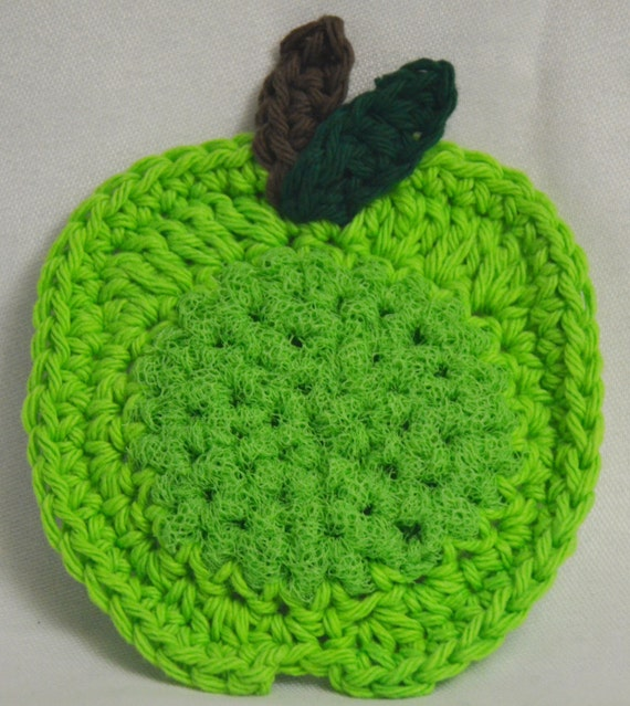 Crochet Green Apple Pot and Dish Scrubbies Set of 3 Kitchen Scrubbers Nylon Scrubbies