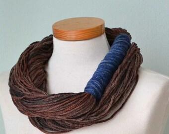 Infinity loop scarf. Browns and blue G656