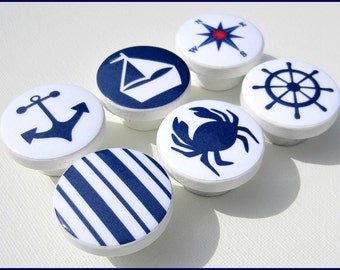 Nautical Knobs • Anchor • Sailboat • Helm • Nautical Compass • Stripes • Navy • Drawer Knobs • Wood Knobs