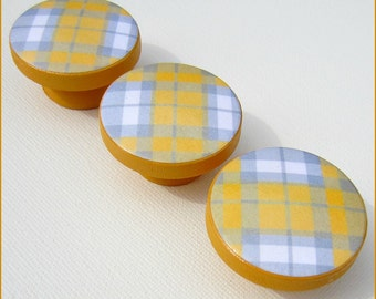 Plaid Dresser Knobs • Drawer Knobs • Yellow and Grey  • Drawer Pulls • Plaid Drawer Knobs