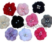 "2"" Mini Blossom Pearl and Rhinestone Flower - Set of 5 - PICK COLORS"