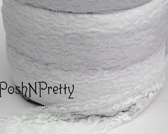 "2"" Premium Lace Stretch Elastic Trim, Floral, Lingerie, Wedding Garter, Baby Headbands - White - 5 yards"