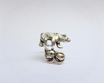 Silver bear cat ring, adjustable ring, animal ring, silver ring, statement ring