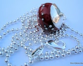 Necklace, Raspberry Cordial, Rich Red Artisan Lampwork with Fine Silver, Large Hammered Sterling Beadcap, Sparkling Sterling Ball Chain