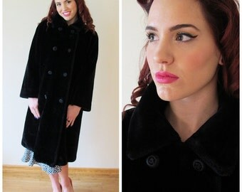 60s Borgazia Black Faux Fur Double Breasted Long Coat,  Size Large to XL