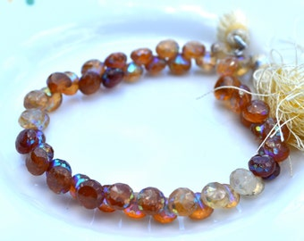 Hessonite Garnet 7mm Onion Briolette Strand of 52