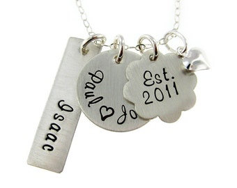 My Family - Three or Four Name Hand Stamped Sterling Silver Necklace