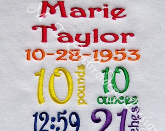 Custom Birth Announcement Font #21 - 5 x 7  Embroidery Design