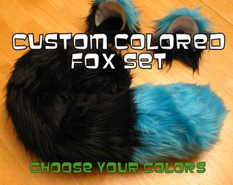 Fox Ears and Tail Halloween Costume Choose your colors - Fox Ears and Fox Tail-Anime, Fantasy, Cosplay. Burning Man, Anthrocon