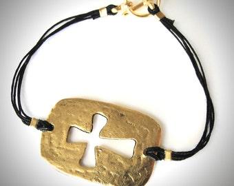 Sideways Cross bracelet Gold Pewter Cut-Out Cross Christian bracelet
