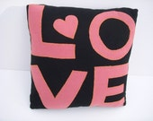 Whimsical LOVE Hand Applique Wool Pillow