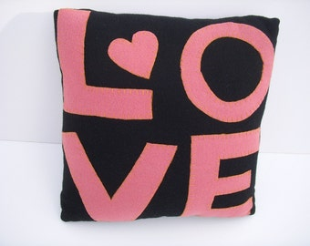 LOVE PILLOW GIFT--Hand Applique Wool Pillow--Love Letters--Wedding Gift--Valentine Gift--Boyfriend Girlfriend--Husband Wife--Couple Gift