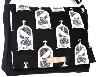 Black Vintage BIRD In A Cage MESSENGER Book iPad Laptop Diaper BAG