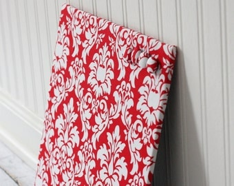 Fabric covered magnet board 12 inch x 12 inch covered in Red and White Dandy Damask Fabric- Magnet Board