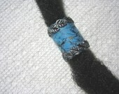 Dreadlock Bead  Faux  Turquoise with Silver Leaves You Choose Hole Size
