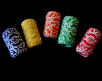 Dread Beads Bold Colored  White Embossed Dreadlock  Beads  Set of 5   You Choose Hole Size