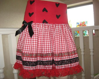 sequoia Black,Red,Pink,white hearts,stars,lace,ribbon Longer Length  Skirt,Punk,Goth,rock,emo lolita All sizes