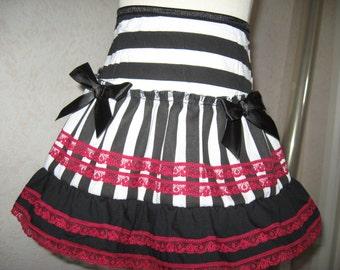 NEW Black,Red,white stripes,lace,pirates Frilly Mini Skirt-All sizes,Goth,Rock,Lolita,sequoia